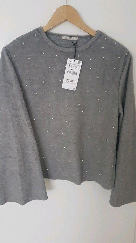 Grauer Pullover mit Perlen von Zara | Lange pullover damen