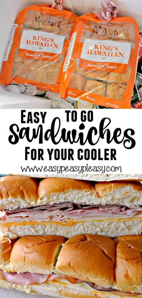 The Most Delicious And Easiest TO GO Sandwiches For Your Cooler! – Easy Peasy Pleasy Make up these easy to go Hawaiian Roll Sandwiches that can be dropped on top of everything in your cooler. Check out our favorite meat and cheese combo! Hawaiian Roll Sandwiches, Rolled Sandwiches, Sandwiches For Lunch, Breakfast Sandwiches, Hawaiian Roll Sliders, Appetizer Sandwiches, Panini Sandwiches, Finger Sandwiches, Boot Snacks