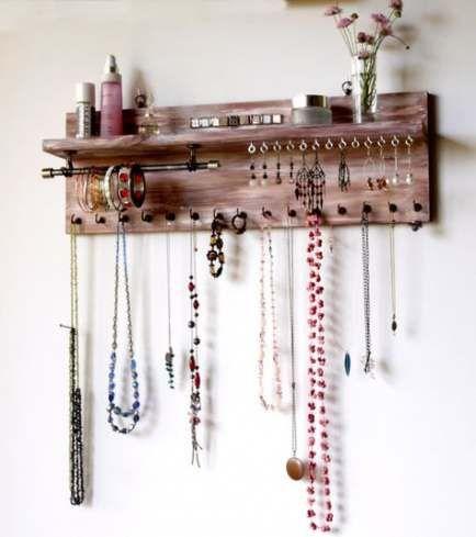 39 Ideas Diy Jewelry Hanger Necklace Display Earring Holders Diy Diy Jewelry Hanger Diy Jewelry Display Jewelry Organizer Wall
