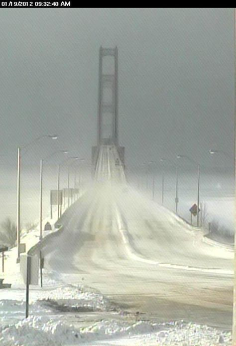 Facebook users shared this photo of the Mackinac Bridge from Jan. 19, as winter descended upon the Straits.