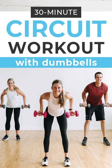 Full Body Circuit Workout, Circuit Training Workouts, Mini Workouts, Full Body Workout Routine, Workouts For Teens, Dumbbell Workout, Easy Workouts, Upper Body Circuit, Soccer Workouts