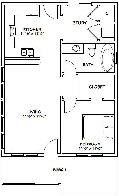 24x32 House 24x32h1 768 Sq Ft Excellent Floor Plans Small Floor Plans One Bedroom House Tiny House Floor Plans