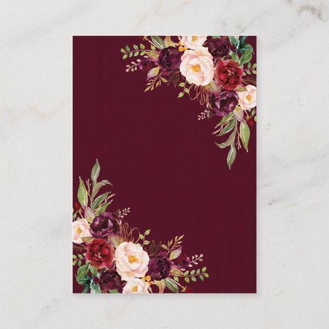 Burgundy Marsala Floral Antlers Wedding Details Enclosure Card Wedding#Antlers#Enclosure#Details