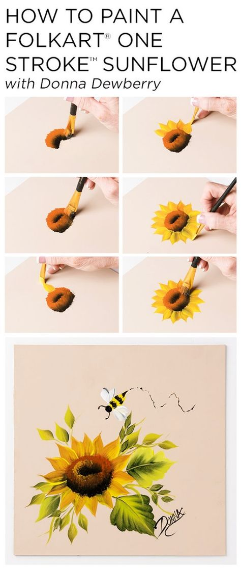 "Learn how to paint a beautiful sunflower using a s. Learn how to paint a beautiful sunflower using a small palette of FolkArt Multi-Surface Acrylic paints and just a few brushes with Donna Dewberry& acclaimed ""One Stroke Painting"" technique. by bbarca One Stroke Painting, Painting & Drawing, Watercolor Paintings, Tole Painting, Diy Painting, Acrylic Paintings, Decorative Paintings, Colorful Paintings, Flower Canvas Paintings"