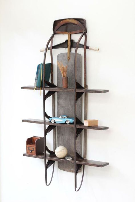 Vintage Sled Shelf by Eastchester & Orange available at Withal now. The place to get inspired goods by local makers. Repurposed Items, Repurposed Furniture, Diy Furniture, Diy Upcycling, Upcycle, Repurposing, Reuse, Vintage Sled, Vintage Winter