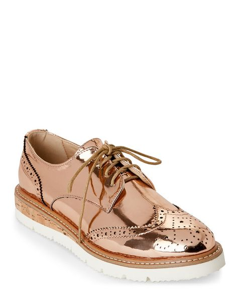 973afff2a WANTED Rose Gold Downey Platform Wingtip Oxfords