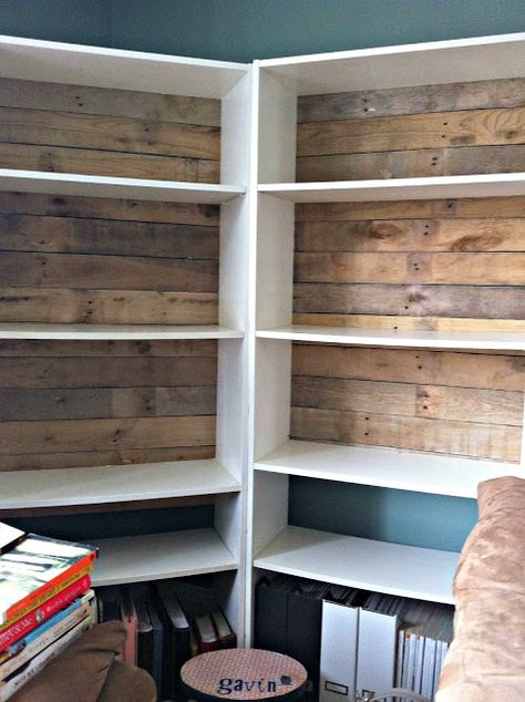 Add pallet boards to back of plain bookcase for Rustic Bookshelves