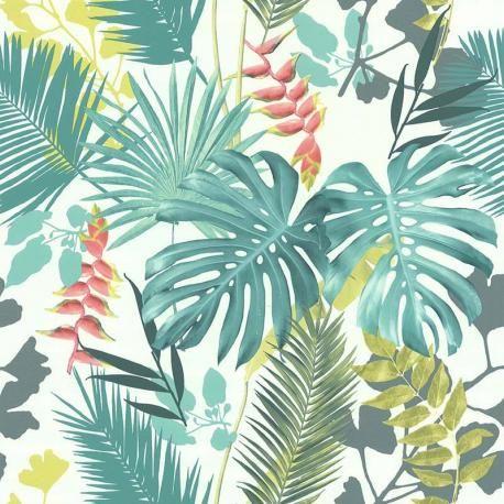 Papier Peint Vinyle Sur Intisse Jungle Mix Vert Et Corail Lutece Papier Peint Tropical Papier Peint Vinyle Papier Peint