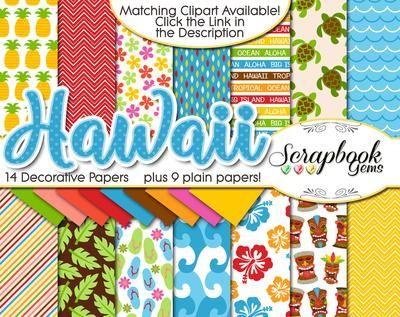 Hawaii Beach And Ocean Digital Clipart Papers Digital Paper