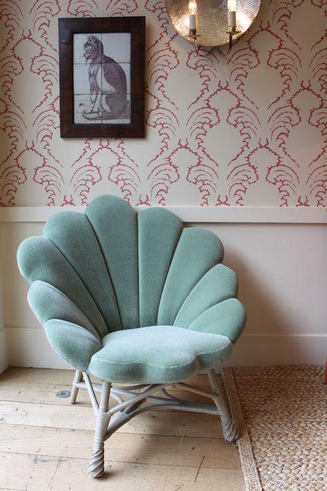 """The Upholstered Venus Chair from Soane Britain upholstered in our """"Celadon"""" Greville Mohair Velvet. Our mohair velvet is available through from www.redlohhousefabrics.com"""