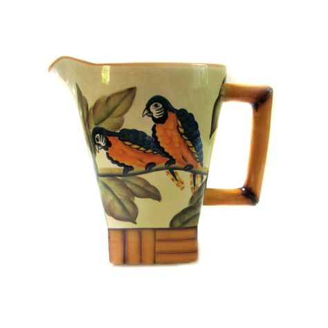 Tropical Tiki Pitcher Parrots and Bamboo // Pacific Rim Pottery // Tropical Island Pitcher