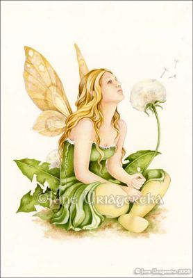 faery fairy dandelion flower plant fairy fairies fantasy fae Dandelion Faery  June Uriagereka    Acrylics and colored pencils on hot press watercolor paper.Dandelion Faery