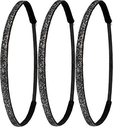 Ivybands Anti-Rutsch Haarband Special Glitzer Super Thin Schwarz One Size