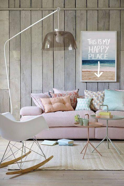 Une Decoration Salon Bord De Mer Avec Des Couleurs Pastel Un Rose