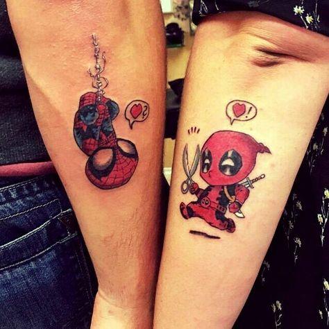 #liebedieverbindet #newtattoo #tattoo #coupletattoo #matchingtattoo #deadpoolandspiderman #deadpool #spiderman #spideypool #spiderkiss #tattoofellas #garmisch