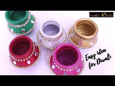 How to Decorate Pot at home I Matki decoration I Indian Festival I Creative Diaries - YouTube