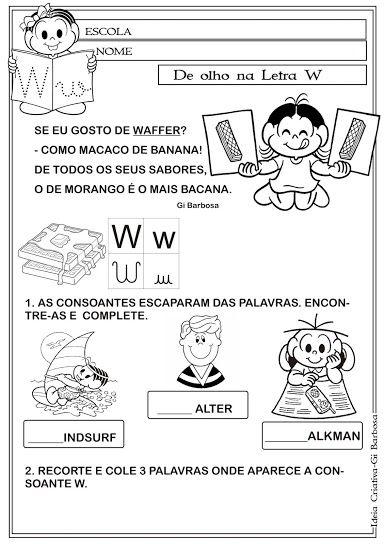 Caderno De Atividades Letras Do Alfabeto Com Texto Turma Da Monica