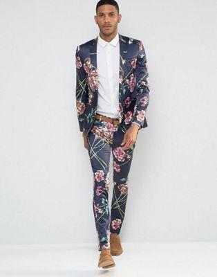 ASOS Super Skinny Suit In Navy Floral Print
