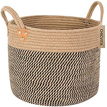 Chicvita Large Jute Basket Woven Storage Basket With Handles Natural Jute Laundry Basket Toy Towels Blanket Woven Baskets Storage Jute Basket Storage Baskets
