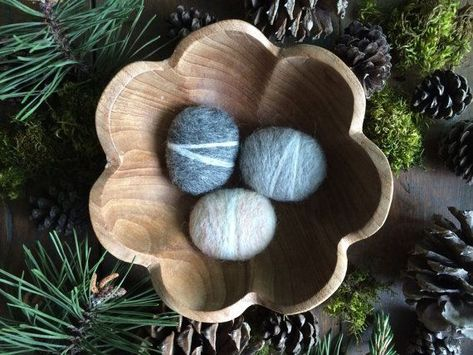 Photo of Handmade felt pebbles, set of 3, Light Grey, Natural Charcoal Grey, and Rainbow Opal White, grey woo