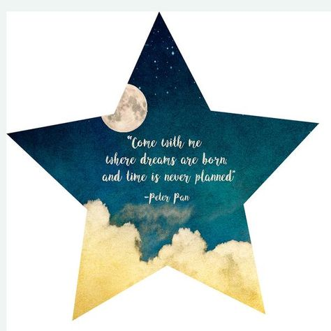 "Peter Pan Quote (Poster) - Wall Words - Removable Wall Decal ""Come with me where dreams are born and time is never planned."" -Peter Pan Available in one size: W: 32in x H: 31in • Easy Installation and"