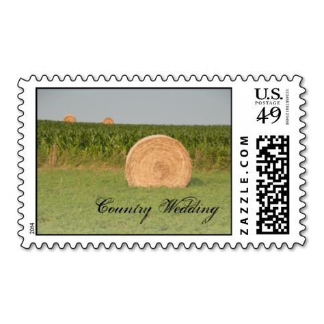 Farm Hay Bales Country Wedding Postage Stamp