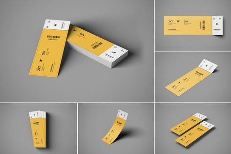 Ticket Mockup 6 PSD Files by erdp on Envato Elements
