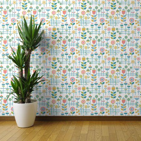 Peel And Stick Removable Wallpaper Retro Flowers Mid Century Modern Floral Walmart Com Wallpaper Panels Peel And Stick Wallpaper Floral Wallpaper