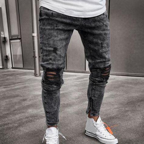 6110411a3 Denim Pants Distressed Frey Slim Fit Casual Trousers Stretch Ripped Je –  TopFashionova