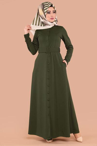 Modaselvim Elbise Kalin Kemerli Elbise Ferace Prm3044 Haki Dresses High Neck Dress Shirt Dress