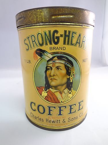 Vintage Strong Heart RARE Coffee Advertising Tin Can w Lid EXC Condition G 70   eBay