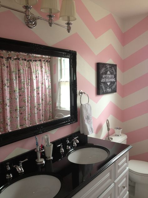 THIS is what I was talking about Mirror, PINK CHEVRON accent wall!!!