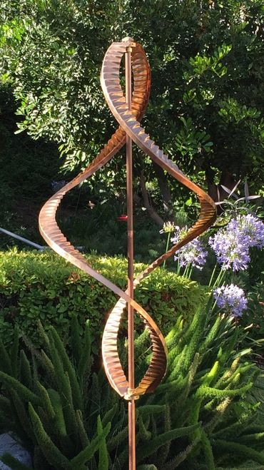 Stanwood Wind Sculpture Kinetic Copper Dual Helix Spinner Metal Tree Wall Art Wind Sculptures Garden Wind Spinners