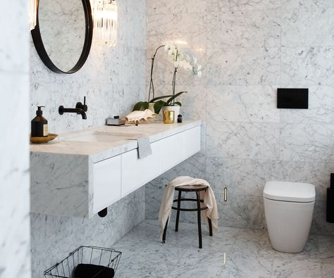 A bathroom with clean lines and luxury finishes.