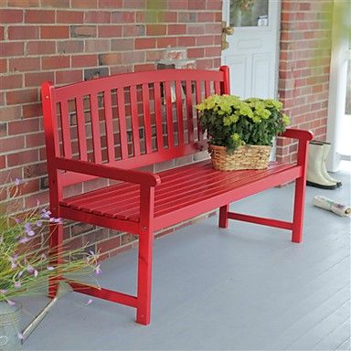 5 Ft Outdoor Garden Bench In Red Wood Finish With Armrest Diy Garden Furniture Outdoor Bench Seating Diy Bench Outdoor