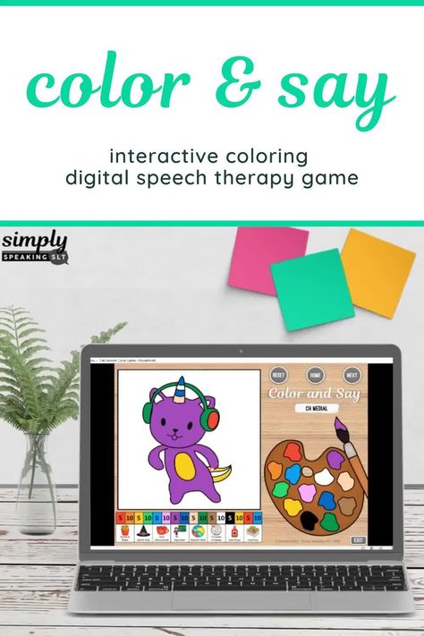 Color and Say Cat Unicorn Themed No Print Speech and Language PowerPoint Game