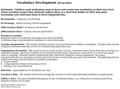 Vocabulary Development Lesson Plan Lesson Planet Vocabulary Development Vocabulary Lesson Planet