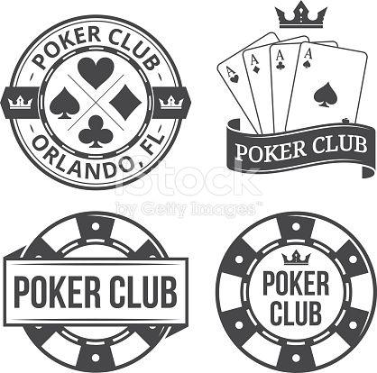 Vintage poker vector emblems