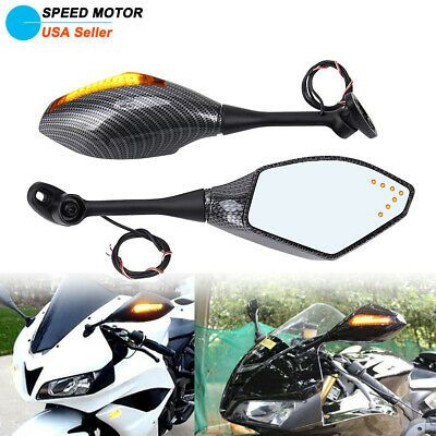 LED Turn Signal Lights Rear View Mirrors For Honda CBR1000RR 2008-2012 09 10 11