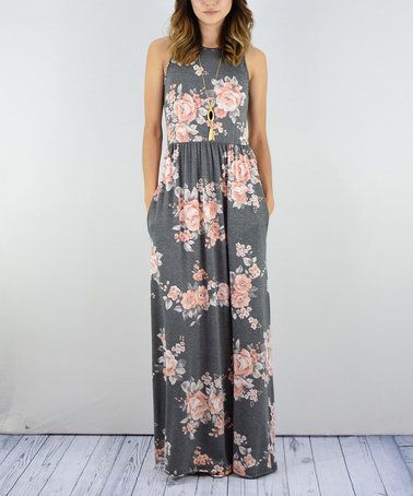Another great find on #zulily! Charcoal & Pink Floral Pocket Maxi Dress #zulilyfinds
