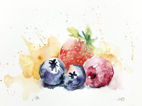 Aquarelle Originale Fruits Rouges Fraise Framboise Myrtille