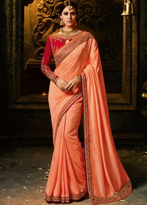 681231af5567f Peach Art Silk Saree with Heavy Blouse