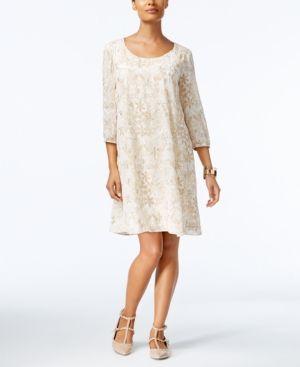 Eci Printed Embroidered Shift Dress IvoryCream XS | Pink