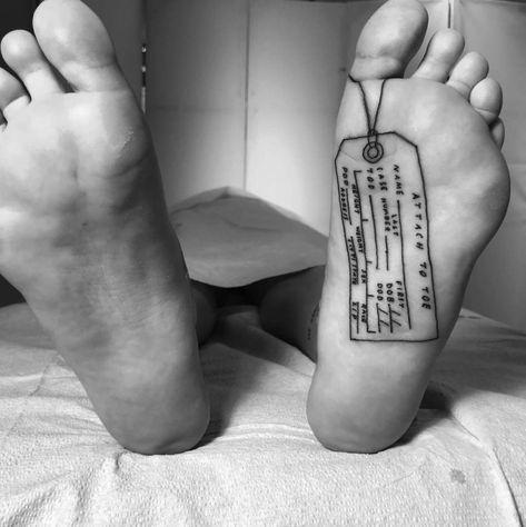A toe tag by Sean