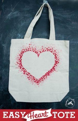 DIY Tote Bag - Make This Fabulous Heart Tote Bag with a Pencil!, #Bag #DIY #fabulous #Heart #Pencil #Tote