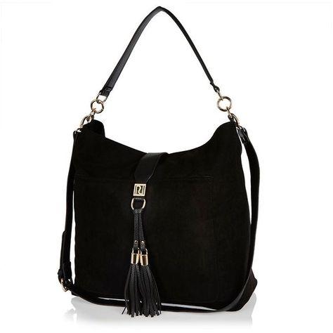 River Island Black tassel oversized slouchy handbag (265 SAR) ❤ liked on  Polyvore featuring 37d67ebbe40b1