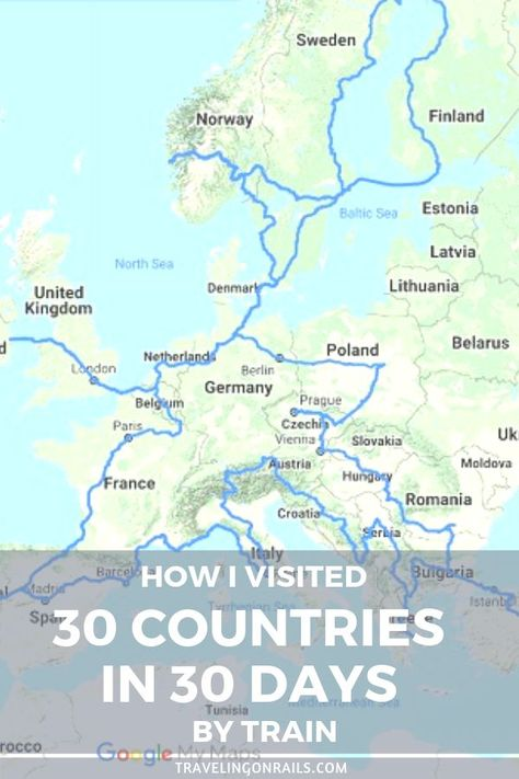 I visited 30 countries in 30 days by train. Learn more about ... on my country map, my weather map, my travel map,