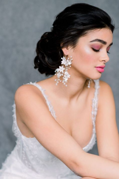 Blair Nadeau bridal statement earrings. Part of our list of top 5 Canadian wedding jewelry designers. Head to the blog for the full list. #weddingjewelry #bridalaccessoriescanada #weddingaccessories