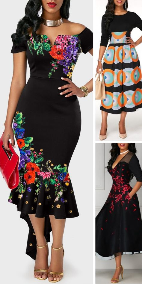 Off the Shoulder Retro Flower Print Black Sheath Dress