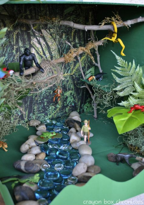 {Rainforest Sensory Bin} Amazon River Basin - #kids #play